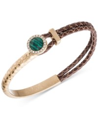 Lonna And Lilly Gold Tone Brown Leather Stone Pave Bracelet