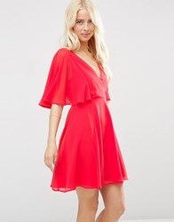 Asos Wrap Front Mini Dress With Angel Sleeve Red