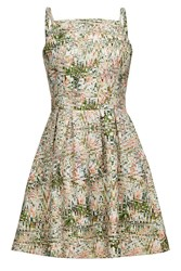 Almost Famous Abstract Orchid Skater Dress Green