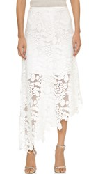 Tibi Asymmetrical Lace Skirt White