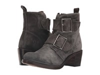 Frye Sabrina Double Buckle Charcoal Oiled Suede Cowboy Boots Black