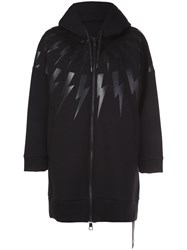 Neil Barrett 'Bolt' Long Hoodie Black