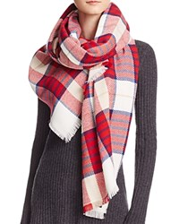 Aqua Color Block Striped Scarf Ivory Red Navy