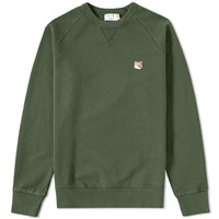 Maison Kitsune Fox Head Crew Sweat Green