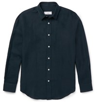 Ami Alexandre Mattiussi Button Down Collar Linen Shirt Blue