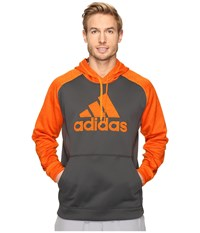 Adidas Team Issues Fleece Pullover Hoodie Applique Dark Grey Heather Solid Grey Bold Orange Heather Men's Sweatshirt Black