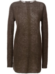 Rick Owens Crew Neck Sweater Brown