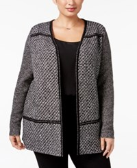 Charter Club Plus Size Tweed Duster Cardigan Only At Macy's Deep Black Combo