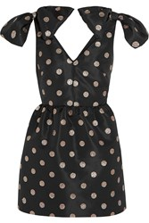 Red Valentino Glitter Finished Polka Dot Faille Mini Dress Black