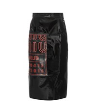 Miu Miu Printed Faux Patent Leather Pencil Skirt Black