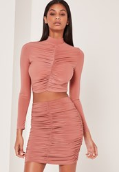 Missguided Ruched Front Slinky Mini Skirt Pink