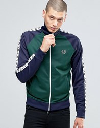 Fred Perry Track Jacket With Contrast Taped Sleeves In Ivy Ivy Green