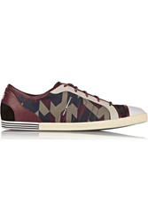 Y 3 Plimsoll Leather Suede And Scuba Jersey Sneakers