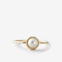 Grace Lee Crown Bezel Pearl Ring Yellow Gold