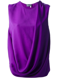 Lanvin Sleeveless Draped Top Pink And Purple