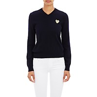 Comme Des Garcons Play Women's Playful Heart V Neck Sweater Navy