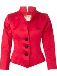 Yves Saint Laurent Vintage Mandarin Collar Jacket Red
