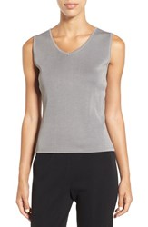 Ming Wang Women's V Neck Knit Tank Granite