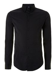 Armani Jeans Men's Fitted Cotton Long Sleeve Shirt Black