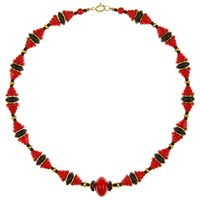 Eclectica Vintage 1940S Gold Plated Art Deco Glass Bead Necklace Red Black