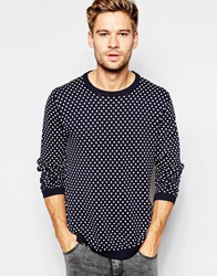Esprit Polka Dot Knitted Jumper Navy
