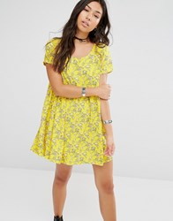 Motel Smock Dress With Ditsy Floral Print Yellow