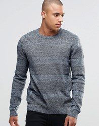 Asos Crew Neck With Textured Stripes Blue Twist Grey
