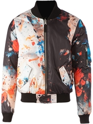 Fifteen And Half Painterly Print Bomber Jacket Multicolour