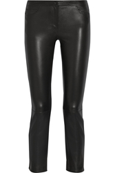The Row Landly Cropped Stretch Leather Straight Leg Pants