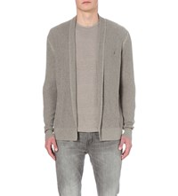 Allsaints Stein Open Stitch Cotton Cardigan Military Grey