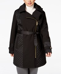 Via Spiga Plus Size Asymmetrical Quilted Raincoat Black