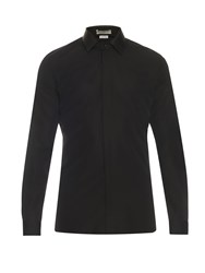 Balenciaga Leather Collar Cotton Poplin Shirt