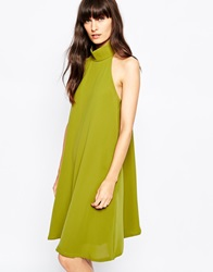 Paisie High Neck Swing Dress With Pleat Back Olive