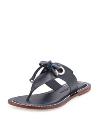 Bernardo Mackenzie Leather Thong Sandal Navy