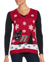 By Design Scottie Dog Ugly Christmas Sweater Vest Red Dog