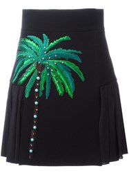 Fausto Puglisi Embroidered Side Pleat Skirt Black