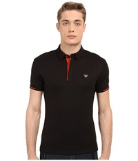 Armani Jeans Contrast Piping Polo Black