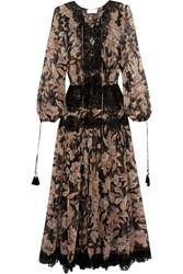 Zimmermann Alchemy Lace Paneled Printed Silk Georgette Dress Black