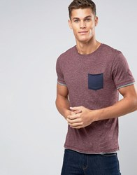 Esprit T Shirt With Crew Neck And Contrast Pocket Bordeaux 600 Red