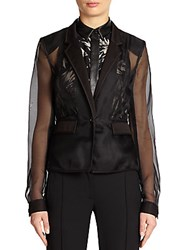 Jason Wu Fitted Silk Organza Jacket Black