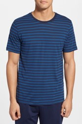 Daniel Buchler Short Sleeve Striped Tee Blue
