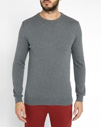 Knowledge Cotton Apparel Grey And Cashmere Round Neck Sweater