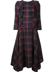 Suno Plaid Ruffled Front Dress Blue