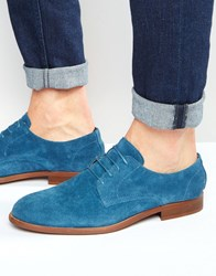 Asos Derby Shoes In Relaxed Blue Suede Blue