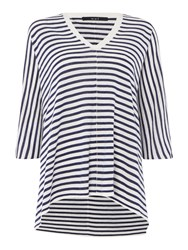 Oui Oversized Stripe Jumper Navy And White