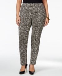 Charter Club Plus Size Tummy Control Pull On Printed Pants Only At Macy's Deep Black Combo