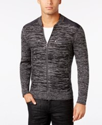 Inc International Concepts Men's Manchester Heathered Mixed Media Sweater Only At Macy's Deep Black