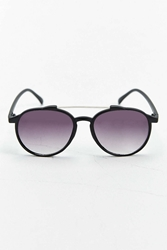 Urban Outfitters Plastic Brow Bar Rounded Aviator Sunglasses Black