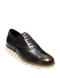 Cole Haan Wing Brogue Leather Oxford Sneakers Java Leather