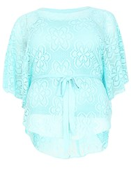 Samya Plus Size Oversized Lace Poncho Top Light Blue